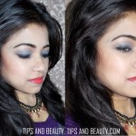 Smokey Blue Eyes with Coral Lips Party Makeup Look