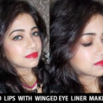 Red lips with Winged Eye Liner Makeup Tutorial