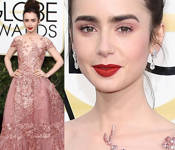 how to do makeup with pink dress lily collins