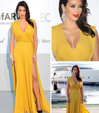 makeup for yellow dress kim kardashian