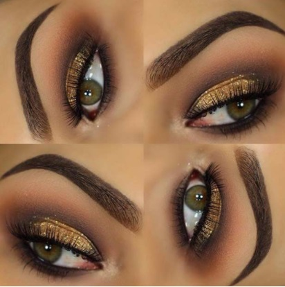 eye makeup with navy blue dress prom