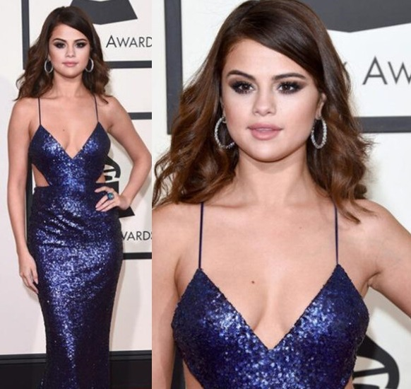 makeup ideas for blue dress selena