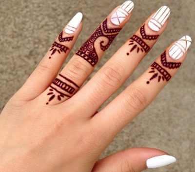 Cute Mehndi Design For Fingers Only