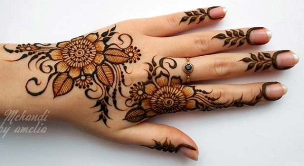 Flower Mehndi Designs For Back Hands : Latest floral mehendi designs for hands arms and feet