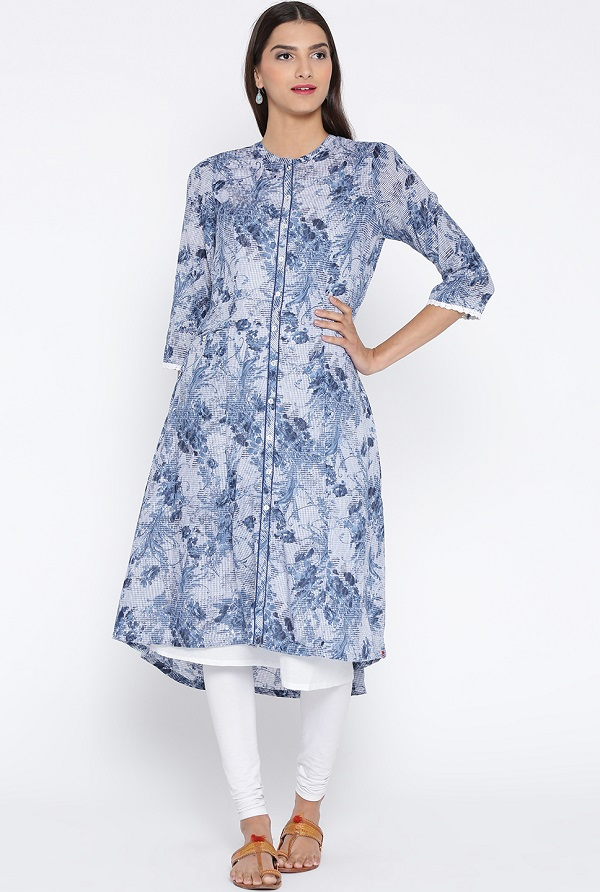 Blue And White Printed Layered A Line Kurta For Office