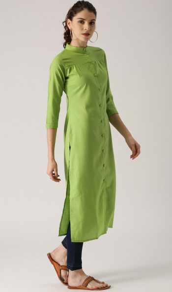 Green Solid Straight Formal Kurta Design