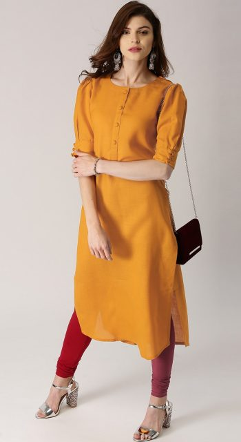 Mustard Yellow Straight Office Use Kurti