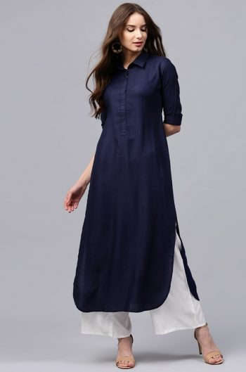 Navy Blue Pathani Kurta For Office