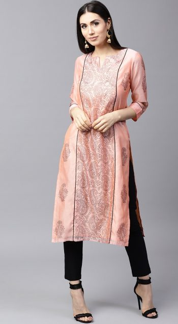 Peach Printed Professional Kurta for Office