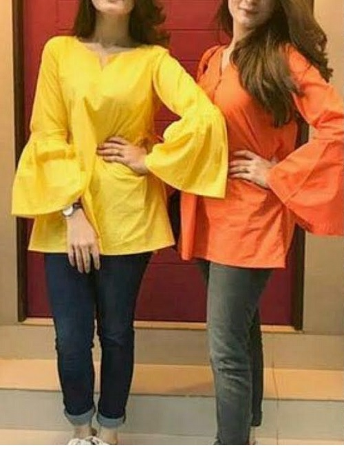 bell sleeves kurti and jeans