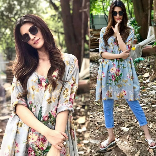 floral kurti and jeans