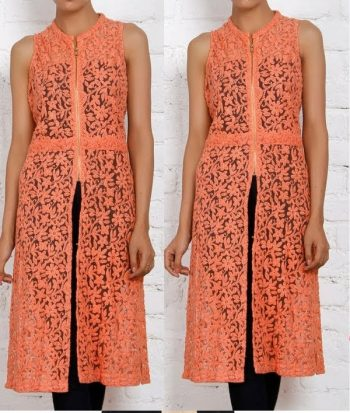 Peach Sleeveless Net Kurta Design for Females