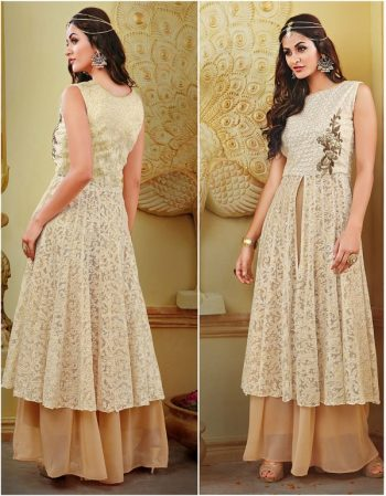 Ivory Embroidered Kurta with Net Shrug