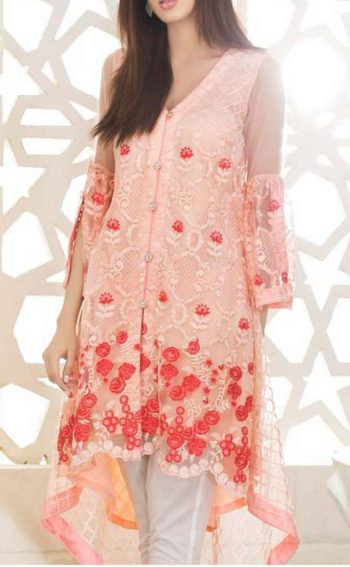Peach Embroidered Net Kurta