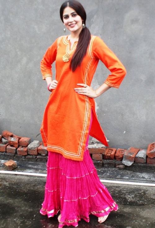 orange and pink sharara and kurti