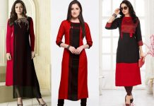 red and black kurta designs for women