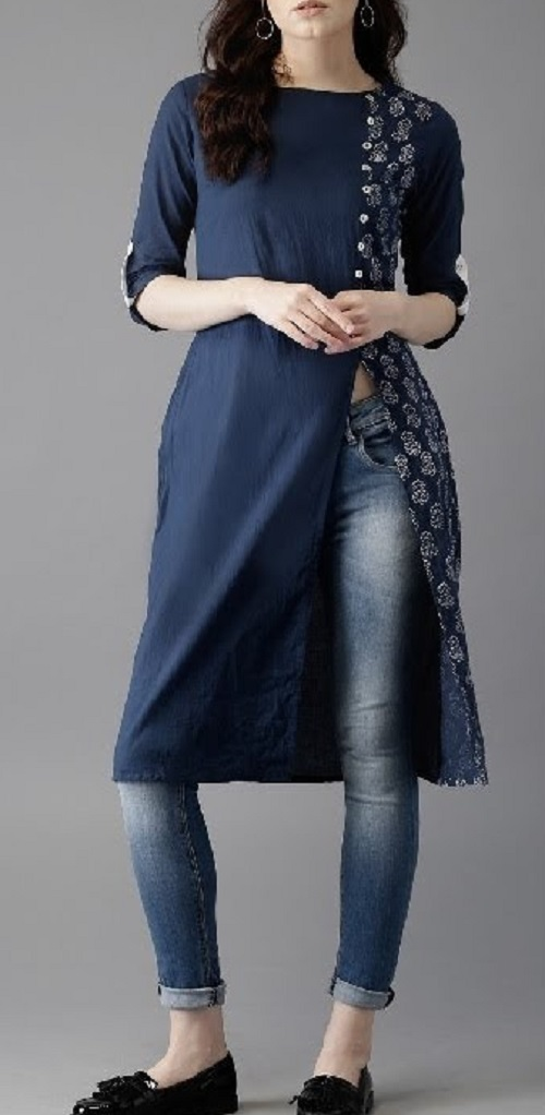side slit kurti with jeans