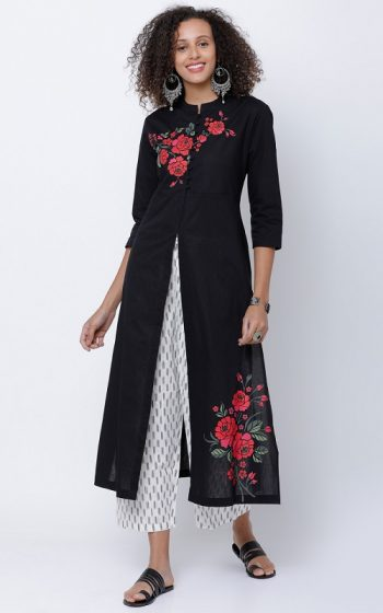 Black floral Embroidery kurta with Centre slit