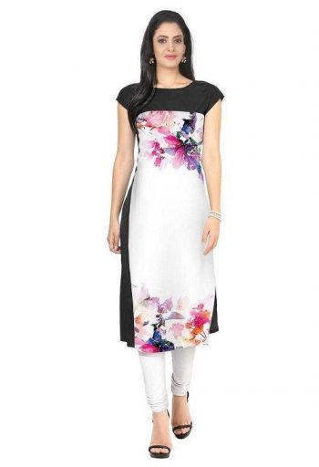 Black and white floral kurta