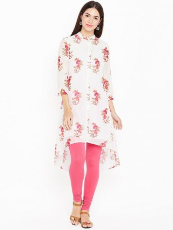 Floral white kurta for women