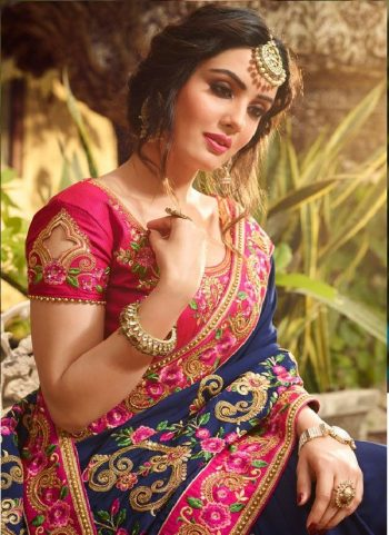 Pink Cut Work Pattu Saree Blouse