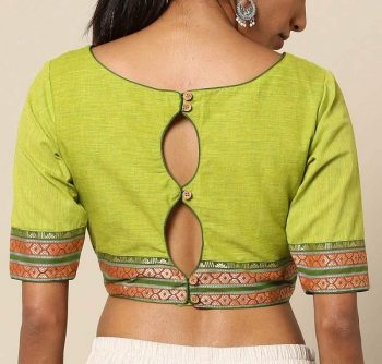 Simple Double Keyhole Pattu Back Neck Blouse