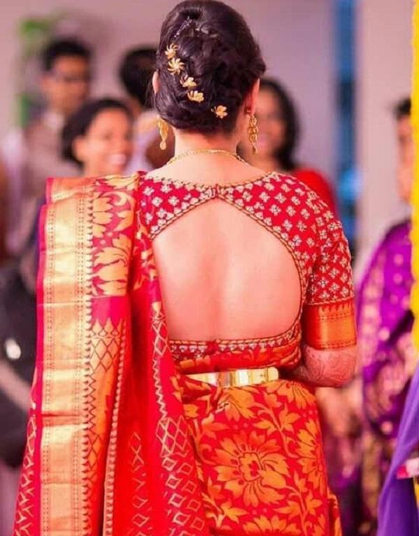 Bell Shape Cut Red Silk Blouse