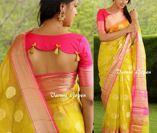 20 Latest Blouse Back Neck Designs For Pattu Silk Sarees 2020