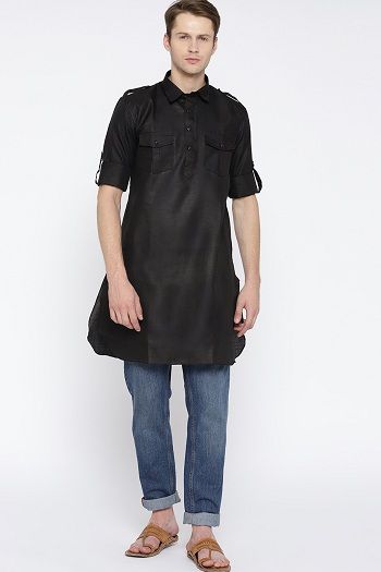 Black Kurta With Jeans For Men