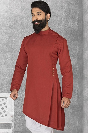 Designer Red Pathani Kurta