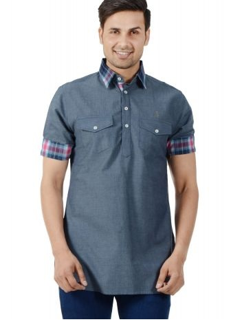 Grey Pathani Kurta for Men