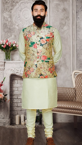 Kurta Pajama With Nehru Jacket For Wedding