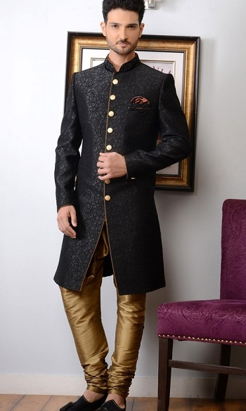 Men's Black Sherwani Kurta