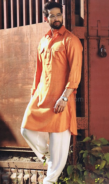 Orange Pathani Kurta