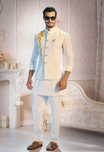 White Kurta Pajama With Jacket