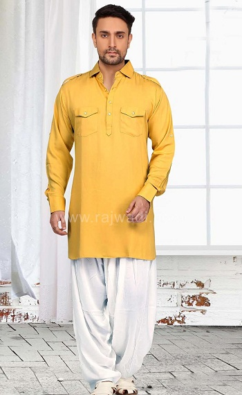 Yellow Pathani Kurta For Males