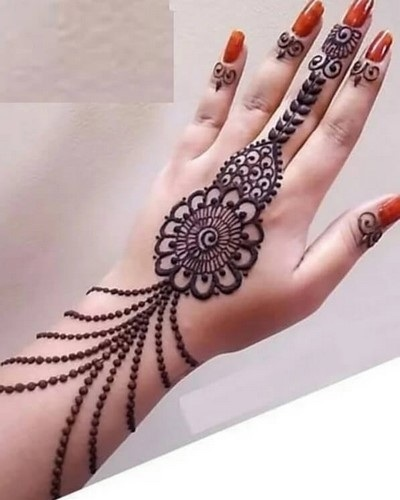 Back Hand Side Mehndi Jewelery Style for Ramazan