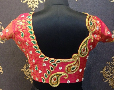 Blouse with aari embroidery mango design