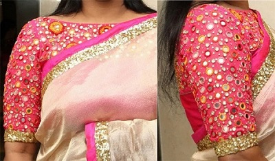 Latest mirror work and embroidered blouse