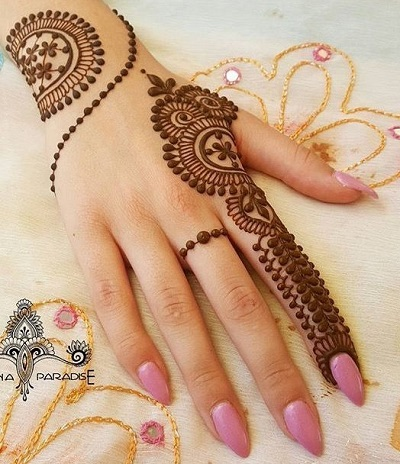 Razan Special Mehndi Design For Back Half Hand