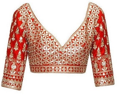 gota patti work blouse design