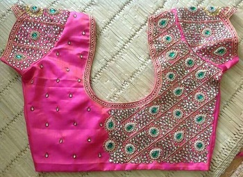 pink maggam style blouse pattern