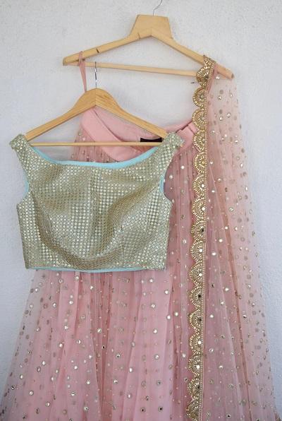 pink net lehenga style with blouse