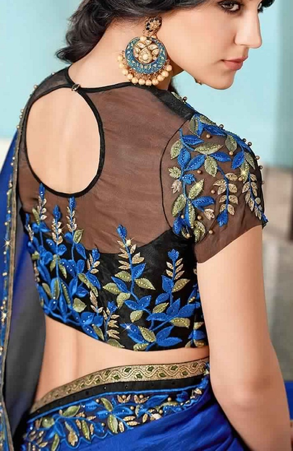 stylish net blouse design