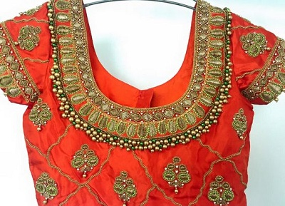 Bead and embroidery work Blouse for Brides