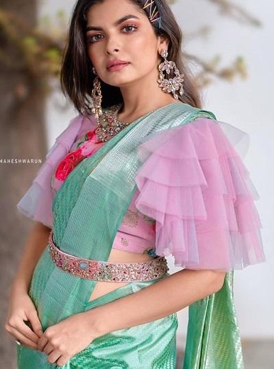 Frill sleeve saree blouse design