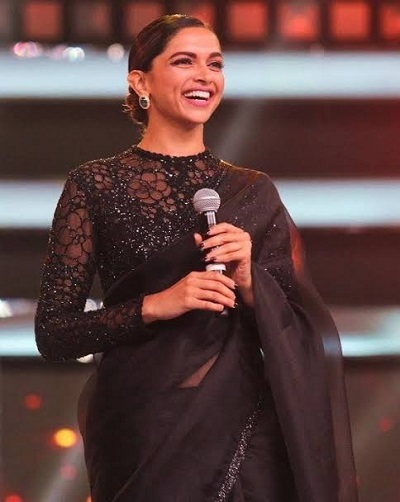 black saree with full sleeve blouse