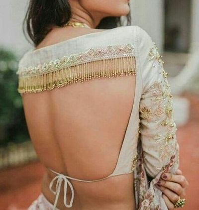 fancy backless blouse with beads