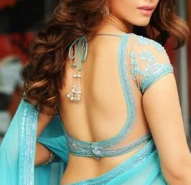 lace blue backless blouse