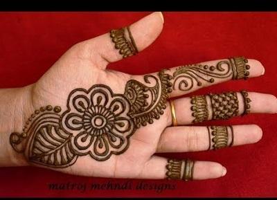simple hand mehndi pattern for Diwali